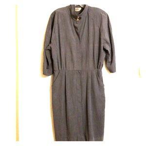 Vintage | Gray Midi Shirt Dress